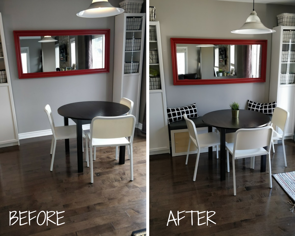 Ikea Kallax Expedit banquette hack before and after